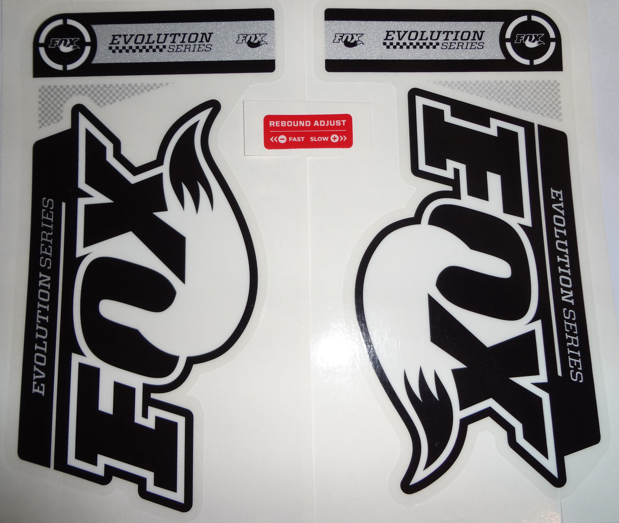 Fox fork decal 32 34 b w evolution series stickers