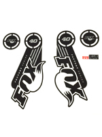 Fox Fork Decal 40 B/W Factory Series Stickers