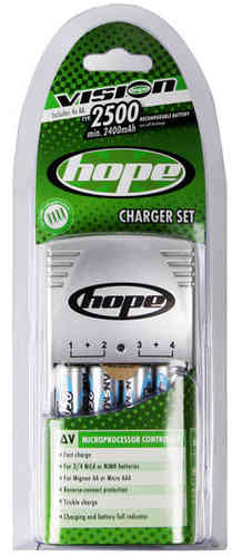 Hope Light AA NiMH Battery Charger Inc. 4 x AA 2500mAh Cells
