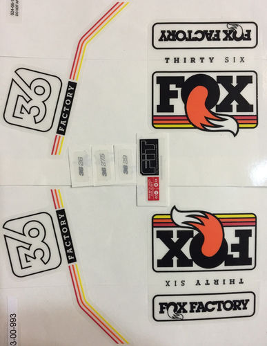 Fox Fork 2016 36 Factory Series Black / Multi Logo Decals Stickers