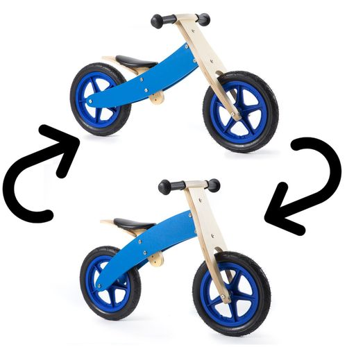 Nicko Reversible Wooden Balance Bike Blue