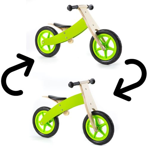 Nicko Reversible Wooden Balance Bike Green