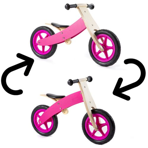 Nicko Reversible Wooden Balance Bike Pink