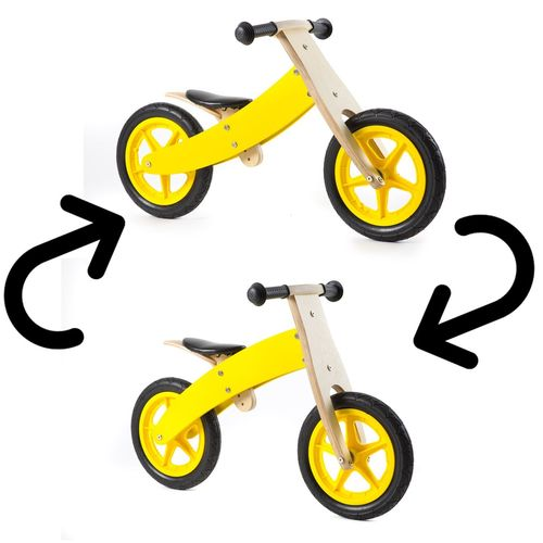 Nicko Reversible Wooden Balance Bike Yellow
