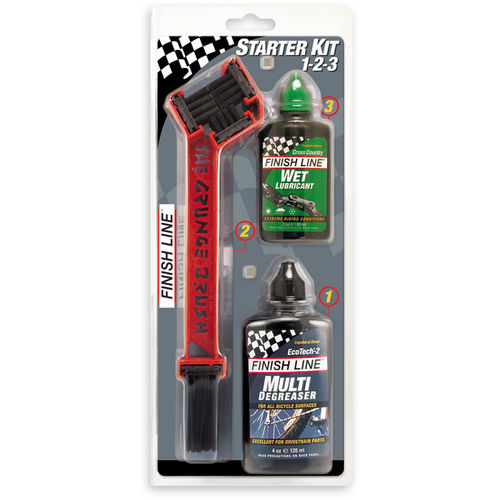 Finish Line Starter Kit 1-2-3 - Grunge Brush w / 4 oz degreaser & 2 oz wet lube