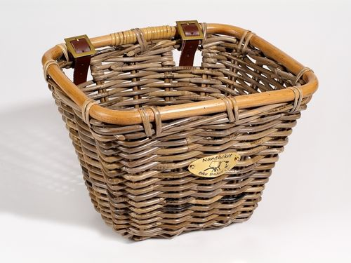 Nantucket Tuckernuck Rattan Rectangle Basket With Leather Straps